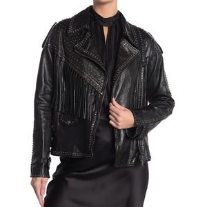 Valentino Studded Fringe Leather Biker Jacket